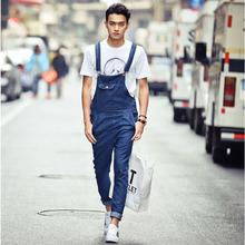 Men's fashion loose lightweight denim overalls Male casual Korean style blue jumpsuits Bib pants Free shipping(China (Mainland))