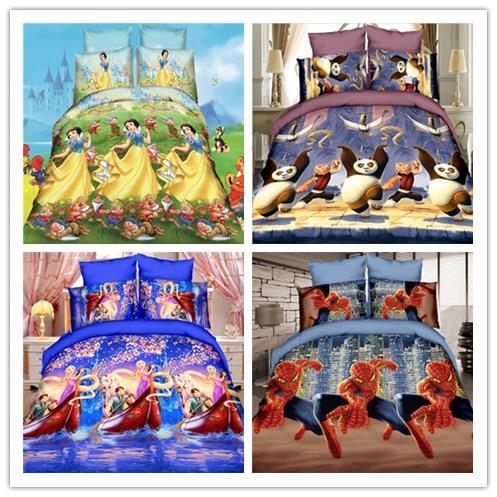 Мультфильм 3D постельных принадлежностей 4 шт. человек паук панда постельное белье пододеяльник простыня детей дети утешитель постельное белье постельное белье