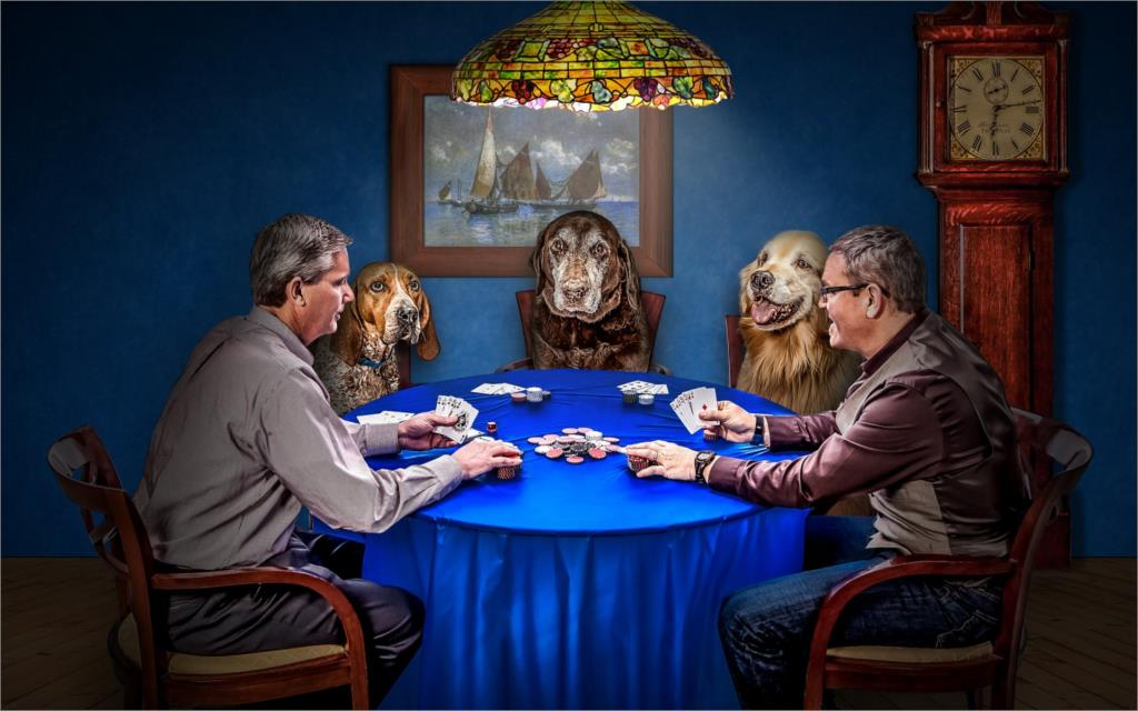 men dogs cards game poker situation chips clock funny Home Decoration Canvas Poster(China (Mainland))