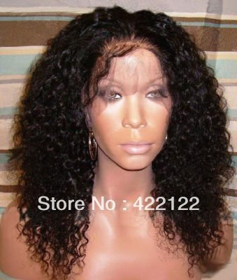 (free shipping + top quality )1b#16inch jerry curl Remy 100% indian human wigs full length Front  Lace Wig glueless Wig DW010