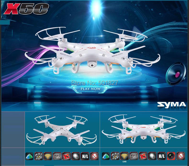 SYMA X5C 2.4G 4CH 6-Axis R/C Quadcopter R/C Helicopter RC Toys Drone With HD Camera free shipping(China (Mainland))