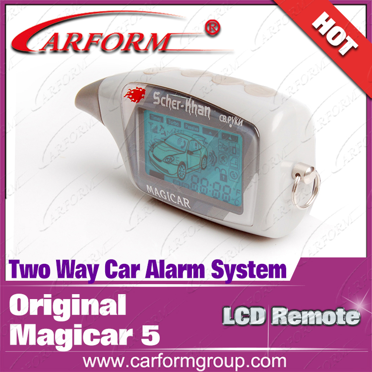 Russian version 2 way car alarm security system used lcd pager M5 suitable for all 12V cars(China (Mainland))