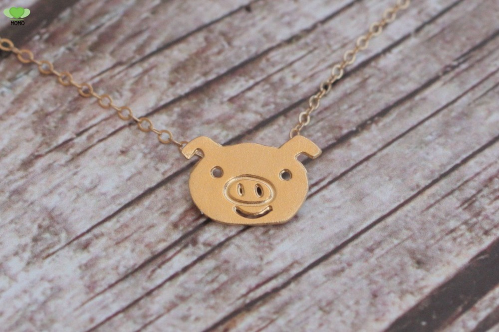 Cute lovely and fun Cute Small Pig Charm Piggy Necklace Farm Animal Necklace for Christmas Gift(China (Mainland))