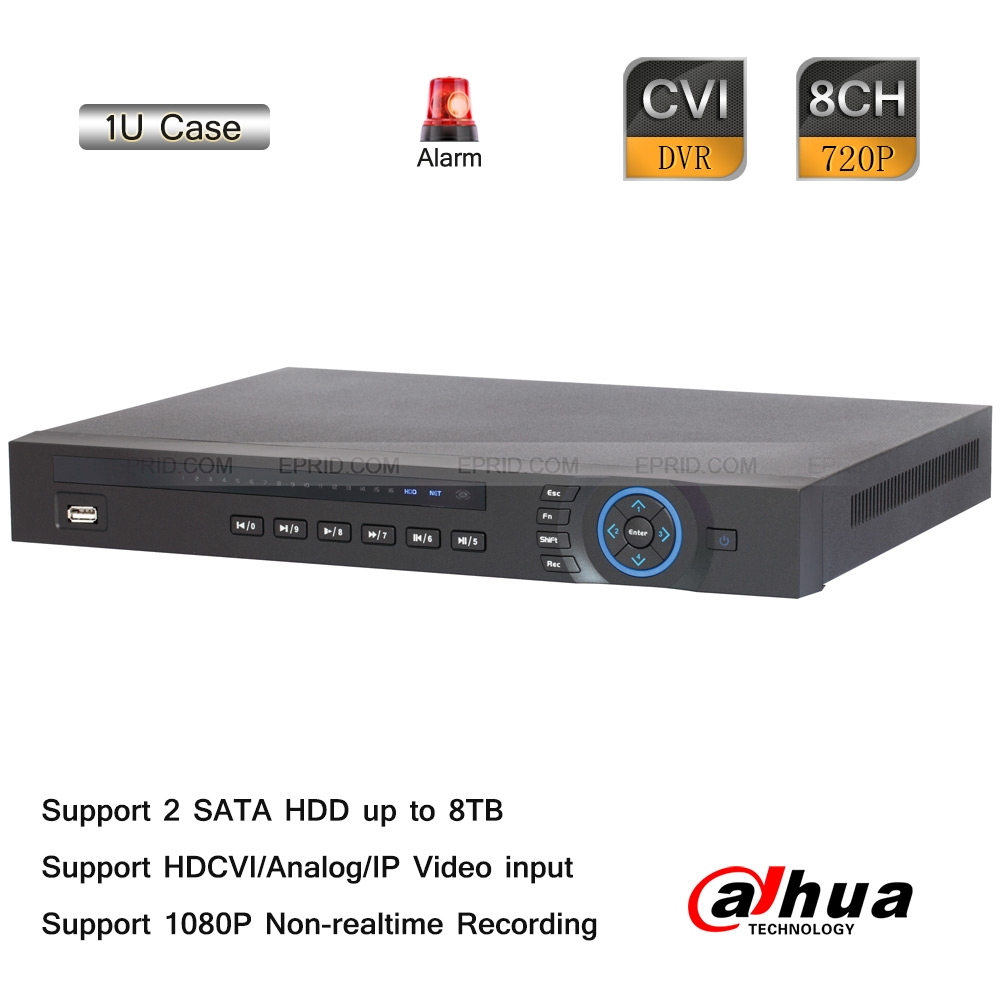 Dahua 8CH Tribrid 720P-Pro HDMI 1U Hybrid HDCVI Analog IP DVR 8 Alarm 4 Audio<br><br>Aliexpress