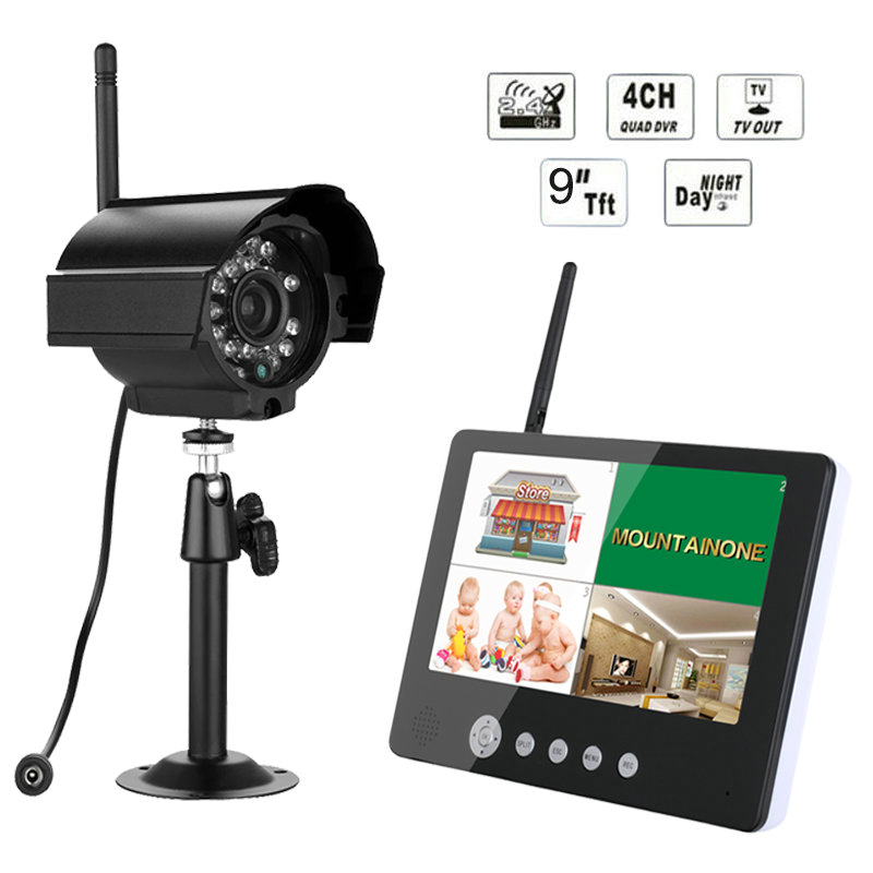 "Free Shipping ENNIO Digital Camera with 9"" LCD Monitor DVR Wireless Kit Home CCTV Security System(China (Mainland))"