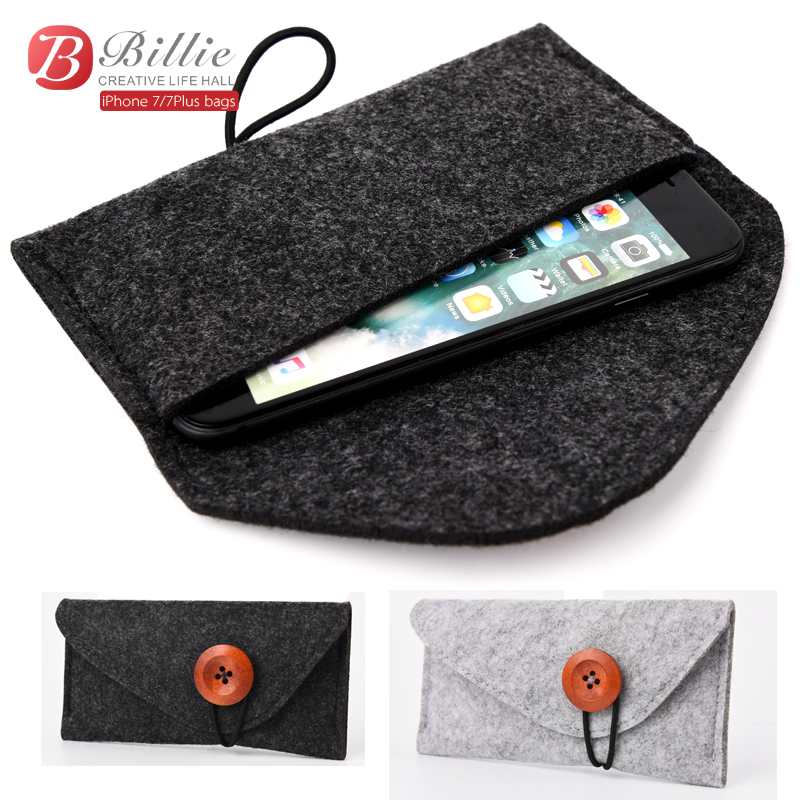 "2017 Original For apple iphone 7 Plus pouch Wool Felt protective sleeve Bag for iPhone6 plus 5.5"" iphone 6s 4.7 inch bags phone(China (Mainland))"