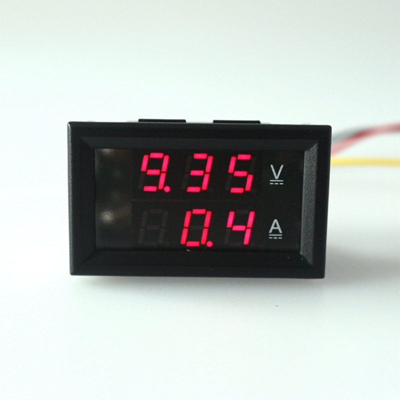 Car Motorcycle Voltmeter Ammeter DC 4.5-30V/50A Dual display voltage current Panel Meter Red led display with three wires <br><br>Aliexpress