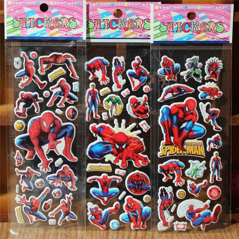 New 2015 3pcs/lot  Spiderman Foam Cartoon 3D Sticker Spiderman model Spiderman Toys Fashion Free shipping YJ-34<br><br>Aliexpress