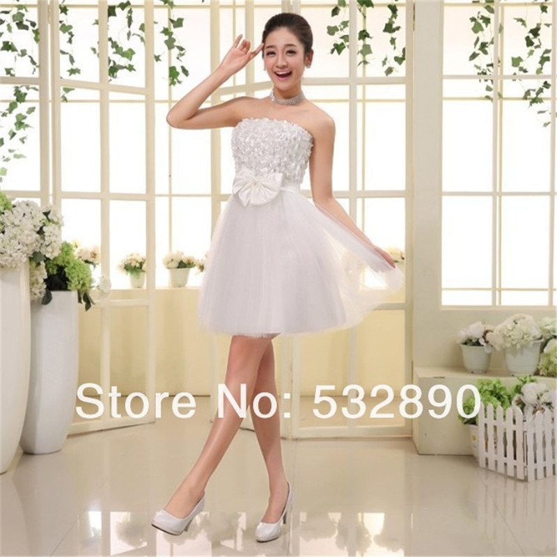 Cheap hot sale promotion wholesale price strapsless 2 for Short wedding dresses for sale