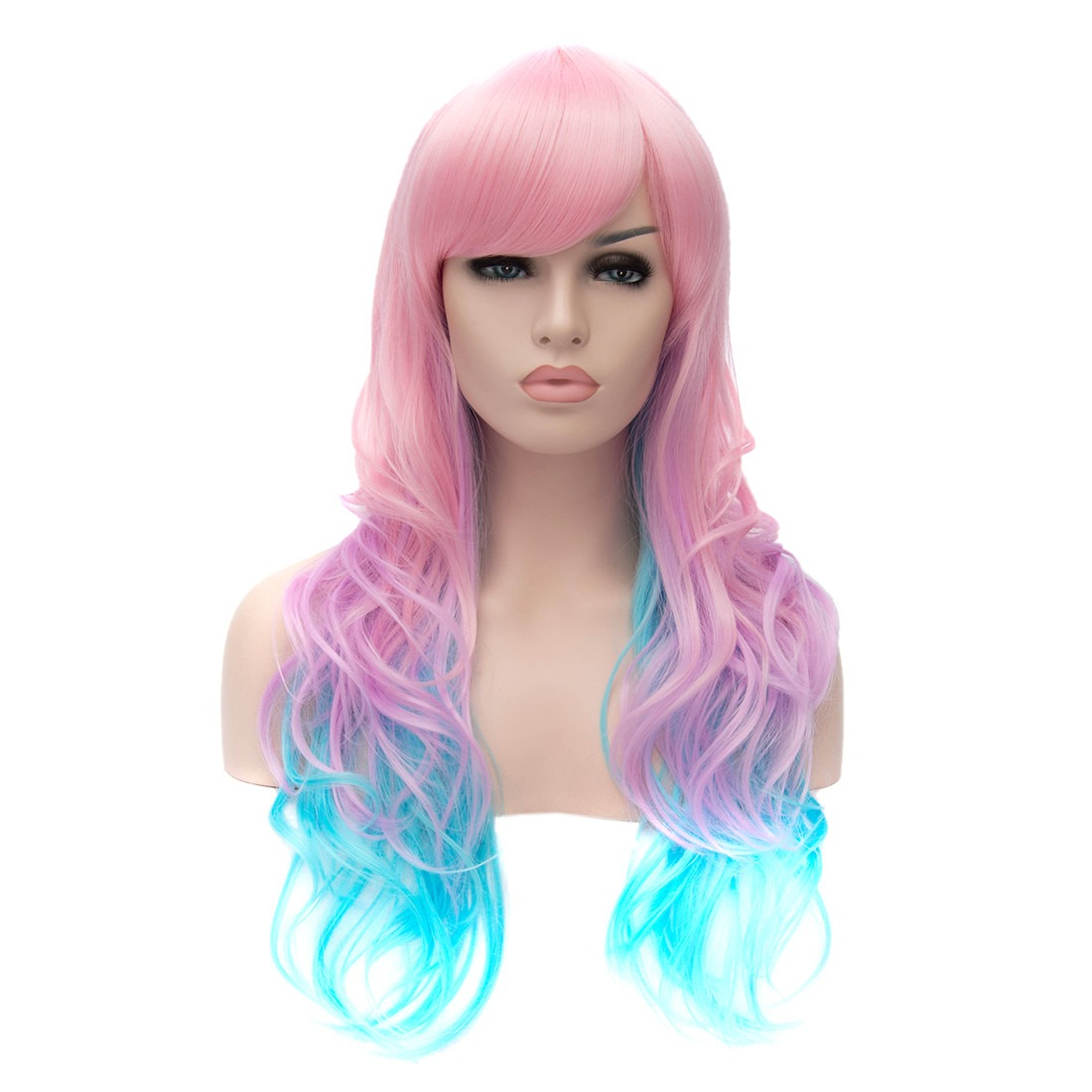 New Pink Gradient Women Long Curly Fancy Party Cosplay Synthetic Wigs<br><br>Aliexpress