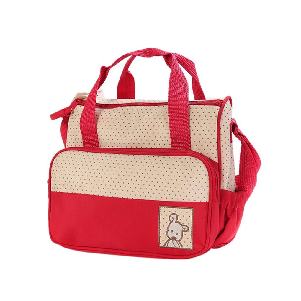 2015 Fashion design top sale polyester fibre 5pcs Baby Changing Diaper Nappy Bag Mummy Shoulder Handbag Set Brown high quality(China (Mainland))