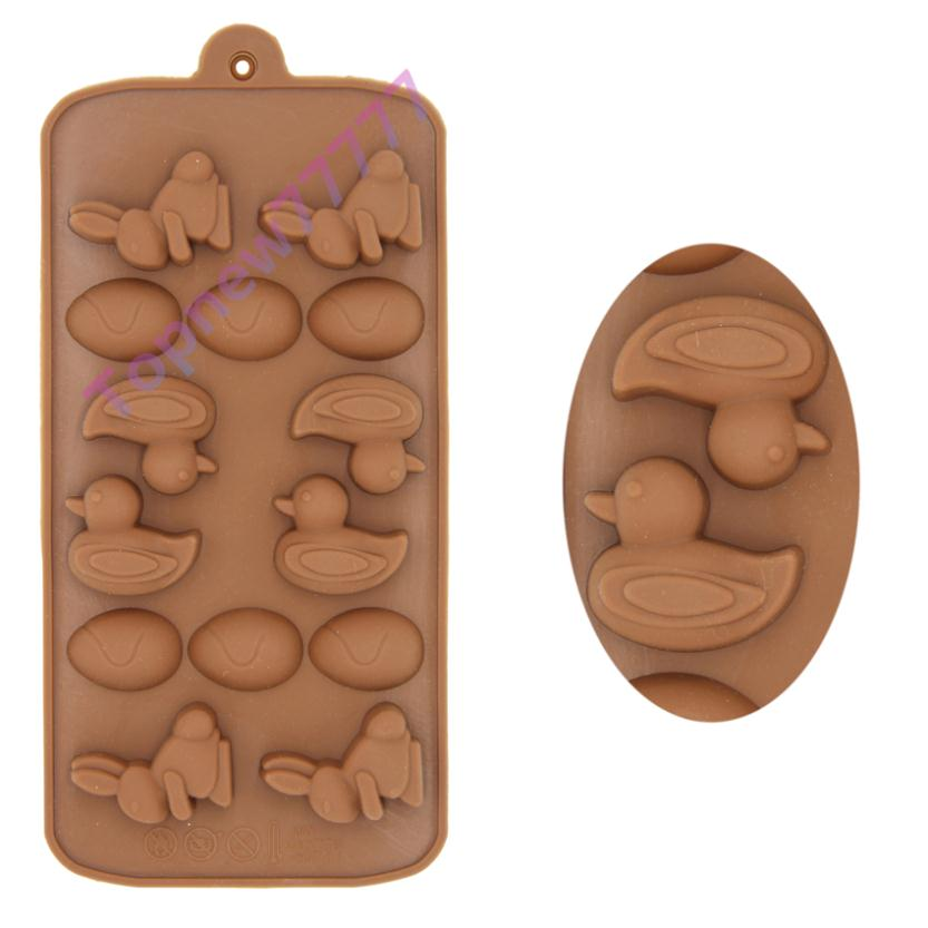 Topnew Easter Egg Bunny and Duck Silicone Small Bakeware Cake Decoration Jelly Chocolate Candy Mold(China (Mainland))