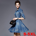 Vestidos Gowns Fashion Half Sleeve Embroidered Blue Long Denim Dress 2016 New Arrival Women For Summer