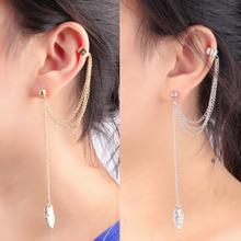 1pc Tassel Chains Leaf Pendant Ear Cuff Elegant Women Girls Clip Stud Earring Fashion Jewelry Gold Silver Color(China (Mainland))