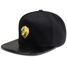 Lohas Hip Hop Style Crsytal Gold Animal Lion Pendant Snapback Cotton Sports Caps Baseball Cap/ Hat(China (Mainland))