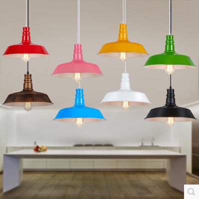 Colored Minimalist Loft Vintage Chandelier Personality Desk Cafe Bar Restaurant Chandelier Aluminium Single Head Lamp(China (Mainland))
