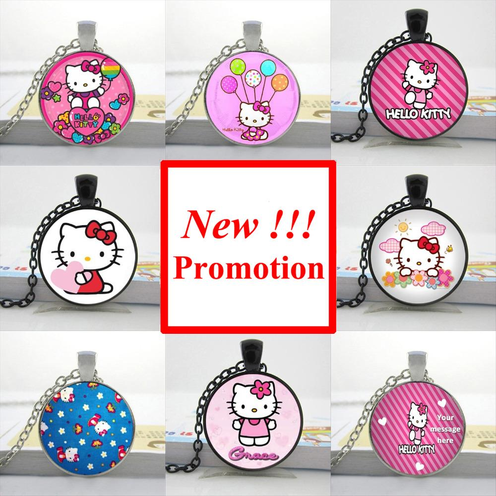2015 New Fashion Glass Dome Pendant Hello Kitty Necklace Hello Kitty Jewelry Girls Glass Cabochon Necklace(China (Mainland))