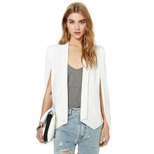 XS-XXL 6 Size Women Fashion White & Black Lapel Split Long Sleeve Pockets Casual Blazer Cape Suit Workwear Women's Blazers J123(China (Mainland))