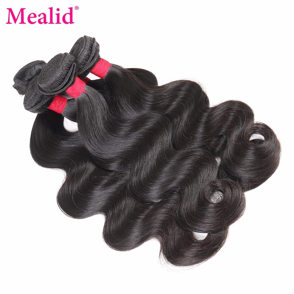[Mealid] Peruvian Virgin Hair Body Wave 100% Natural Color 14″-24″ Unprocessed Human Hair Weave Bundles