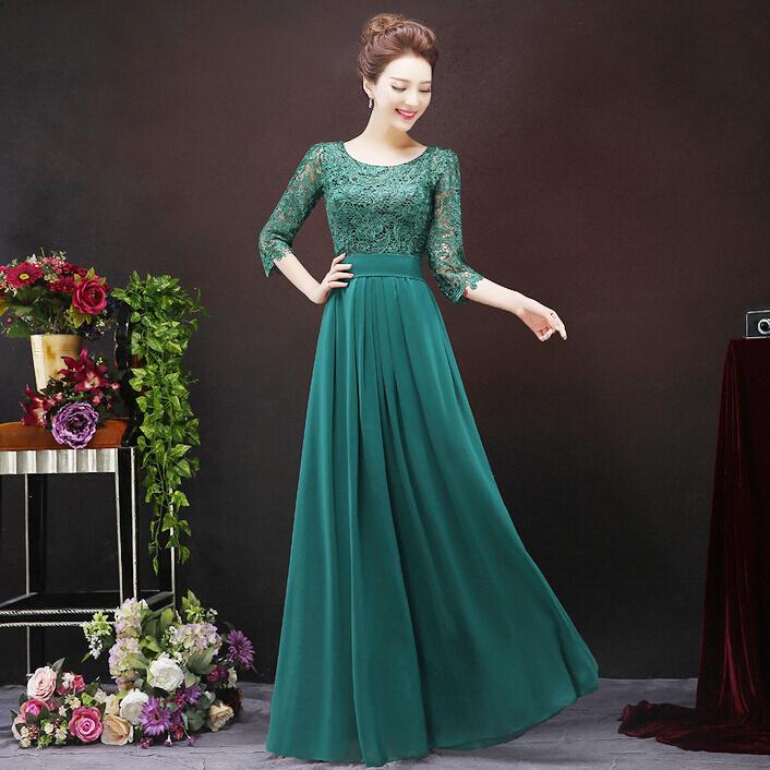 Turmec » dark green long sleeve dresses
