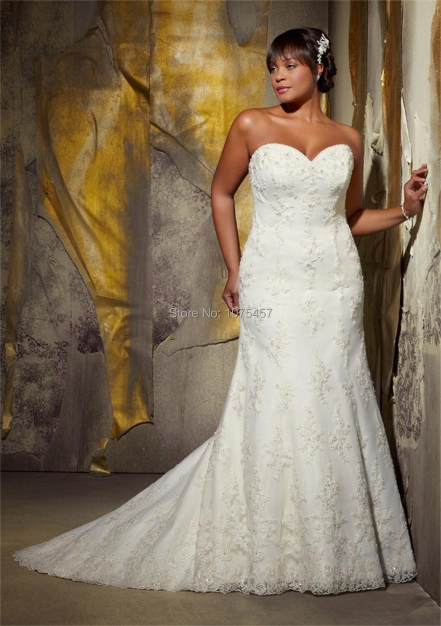 Custom Made Plus Size Lace Wedding Dress 2015 Sweetheart Beaded Elegant Women