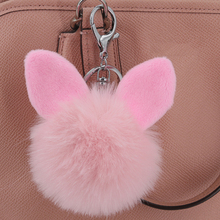 Fashion Pompom Keychain Round Fake Rabbit Fur Ball Key Chain With Ears Cute Women Charms Bunny Keychains Keyring Decorator