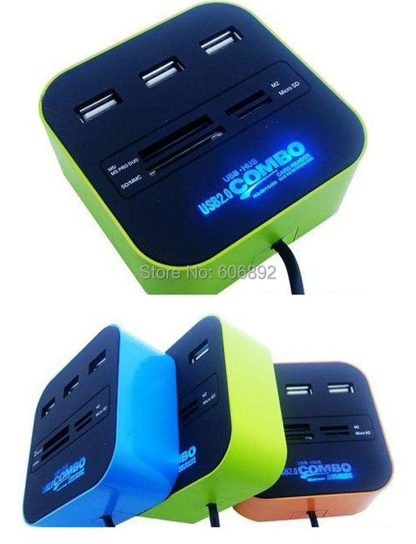 Free shipping All In One Multi-card Reader with 3 ports USB Combo hub for SD/MMC/M2/MS(China (Mainland))