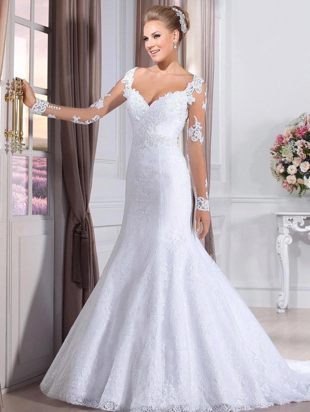 sexy sweetheart long sleeves mermaid wedding dresses see ForSee Through Lace Wedding Dress
