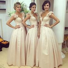 2016 Arabic Sweetheart Long Bridesmaid Dresses Satin A line Saudi Dubai Ruched Long Maid of Honor Dress Wedding Party Gowns(China (Mainland))