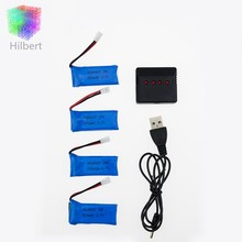 4Pcs 3.7V 500mAh Battery RC Drone Lipo Batteries and 4 in 1 Charger for FPV Quadcopter Hubsan X4 H107 H107L H107C H107D H107P