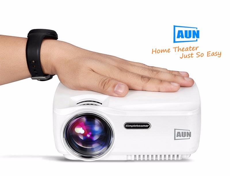 ถูก AUNโปรเจคเตอร์AM01C 1400ลูเมนนำโปรเจ็กเตอร์สนับสนุน1920x1080กับรถATVพอร์ต3DมินิBeamerสำหรับHome CinemaฟรีHDMIสาย