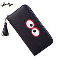 Fashion Long Wallet For Woman PU Leather Phone Pocket Wallet Purse Solid Black Grey Money Bags