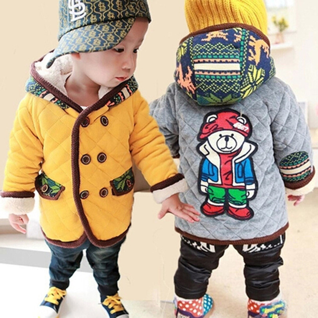 Новый 2016 Осень зима Мультфильм Медведь Младенца Мальчики Девочки Топы Толстовка С Капюшоном С теплый бархат пальто и куртки детская одежда