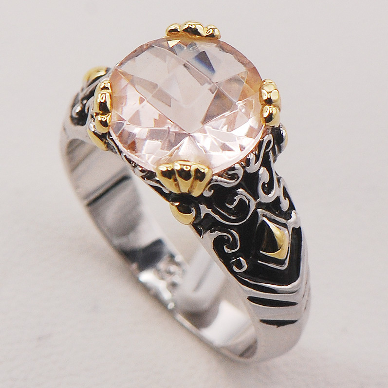 morganite 925 sterling silver ring f683 size 6 7 8 9