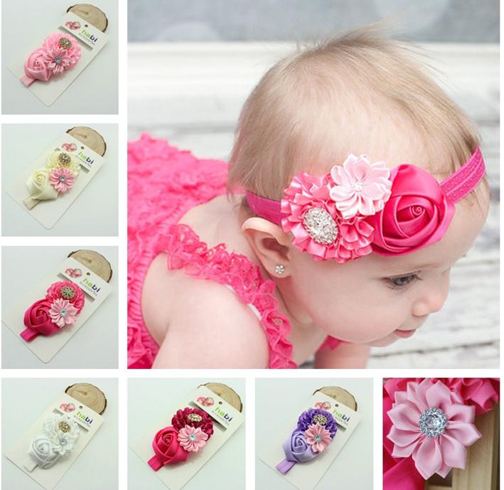 MOQ 10Pcs Children Kids Baby Girl Headband Elastic Flower Band Fashion Newborn Hair Bows Lots Accessories(China (Mainland))