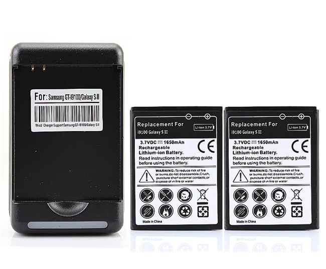 2x 1650mah Battery with Wall Charger for Samsung Galaxy SII S2 i9100 GT-i9100