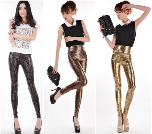 Womens Comfortable High Waist Stretch Leopard Leggings Faux Leather Slim Pants - 2014888168 store