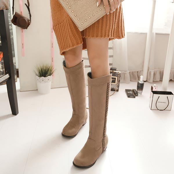 2014 Spring Autumn Suede Flat Bottom Low Heel Knee High Thigh Women