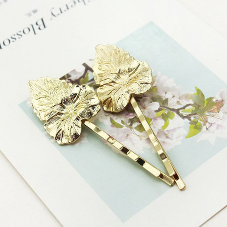Hot Fashion simple women heart leaf hair clip Baroque hairpins barrettes gold plated metal clips for Hair Accessories Jewelry(China (Mainland))