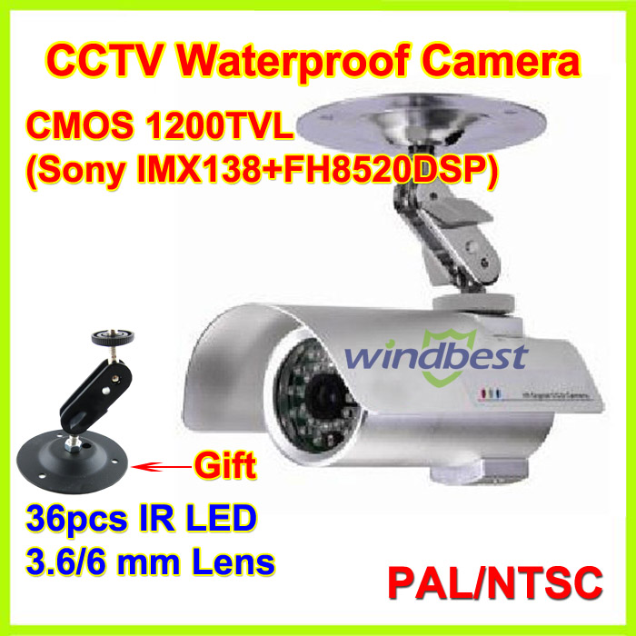 Freeshipping New Arrival 1/3 SONY CMOS 1200TVL IMX138 Night vision Waterproof Security CCTV Camera 3.6mm 36 IR LED With Bracket(China (Mainland))