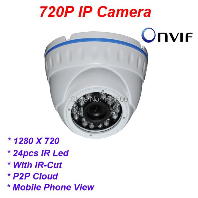 Wholesale HD 1.0MP 720P IP Dome Camera Network Security P2P Indoor 24IR LED Night Vision Onvif<br><br>Aliexpress