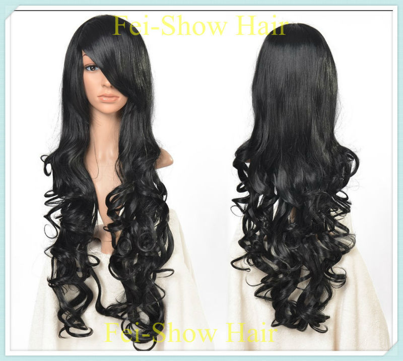 2015 New Style 80CM Long Synthetic Cosplay Black Curly Hair Wig(SJ8803-BL+1 Cap Wig) by Heat Resistant Hair for Anime Wigs(China (Mainland))