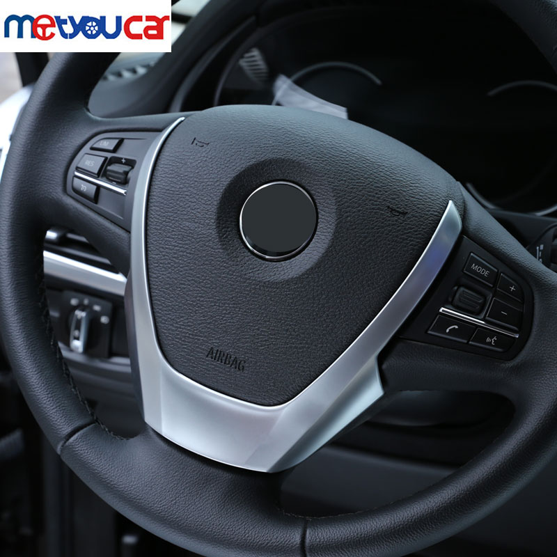 BMW X3 X4 X5 F15 F25 F26 2014-2016 ABS Chrome Steering Whell Cover Trim Stickers Car Styling Accessory