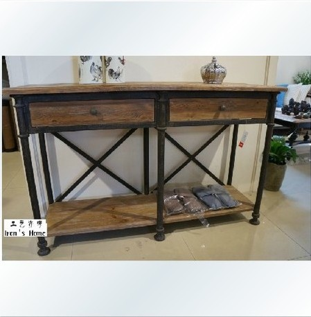 American country station entrance foyer wood wrought iron tables mash retro rustic french side - Cheap entrance table ...