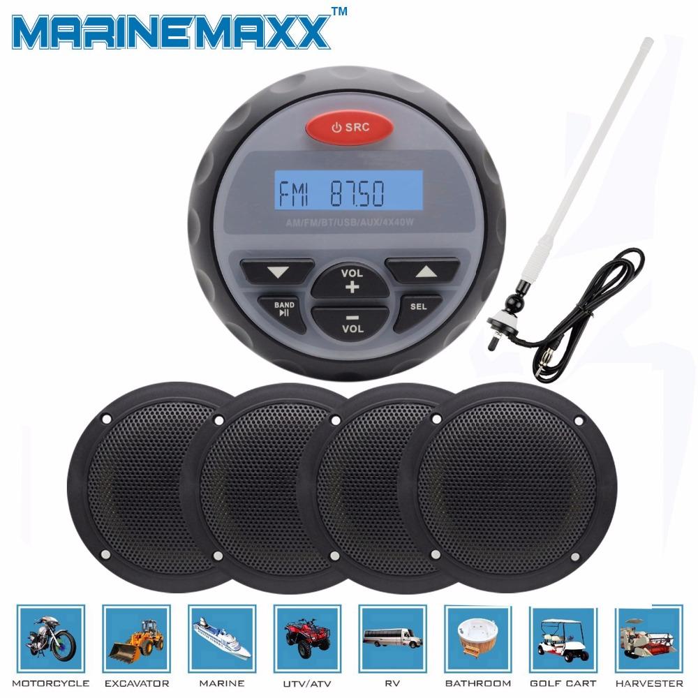 """4"""" Waterproof Marine Gauge Bluetooth Stereo Motorcycle Audio Boat Radio RZR Car UTV + 2 Pairs 4"""" Marine Speakers+ Marine Antenna(China (Mainland))"""