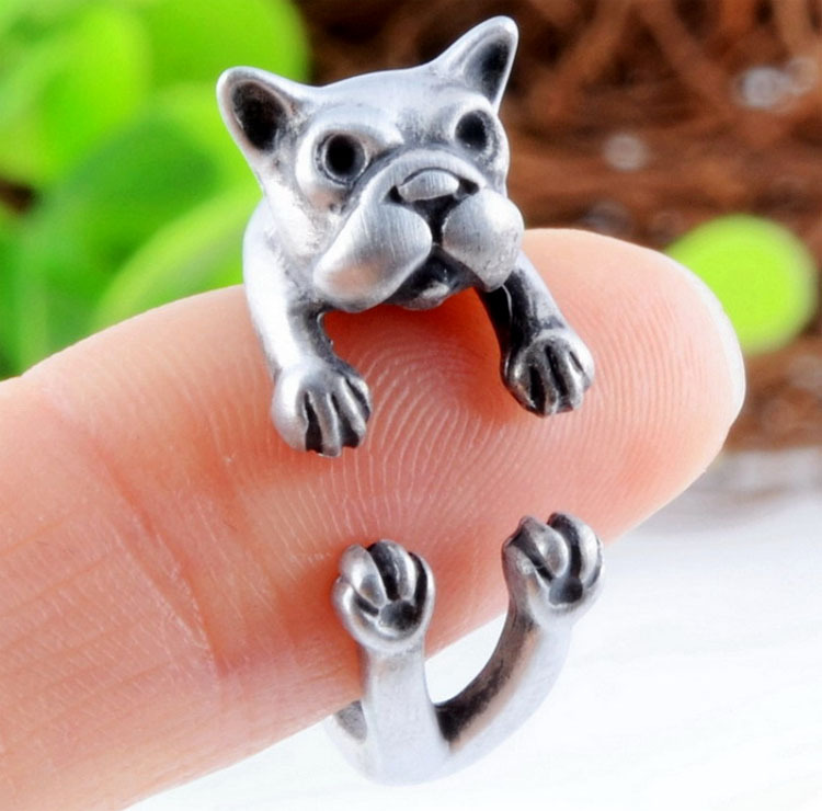2015 Hot Antique Silver Plated Cute Dog Animal Design Adjustable Size Ring French Bulldog Animal Rings Fine Jewelry For Women(China (Mainland))