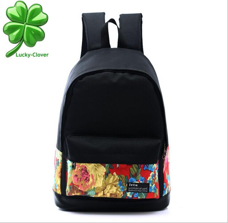 Brand Oxford printed flower women men's backpacks college female school book bags for girls laptop vintage mochilas rucksack(China (Mainland))