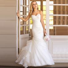 WV276 In Stock Popular New Fashion Real Photo Bridal Gown Custom Made Ruffle Organza Simple Elegant Mermaid Wedding Dress 2016(China (Mainland))