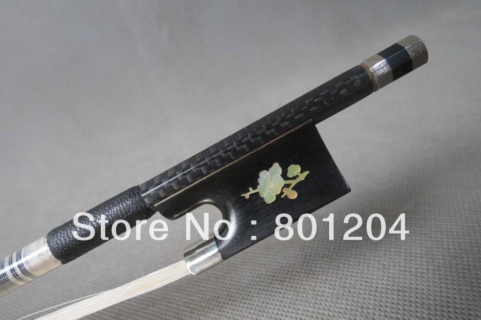 Wholesale 1Pcs Strong plaid Carbon fiber violin bow 4/4,Copper mounted(China (Mainland))