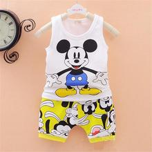 2015 new baby boys girls Clothes set Kid Minnie Vest +short pant summer style sport suit Children Clothing cartoon mickey